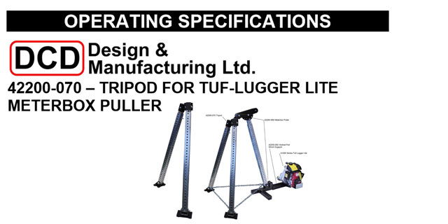 Tripod for TUF-Lugger Lite Meter Box Puller Operating Instructions