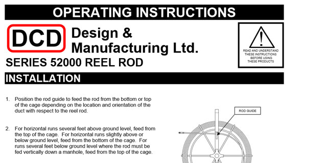 Reel Rod Operating Instructions